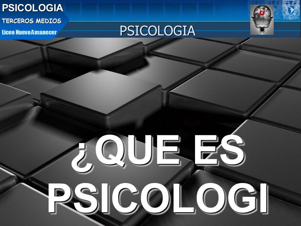 ¿QUE ES PSICOLOGI A ¿QUE ES PSICOLOGI A PSICOLOGIAPSICOLOGIA TERCEROS MEDIOS Liceo Nuevo Amanecer