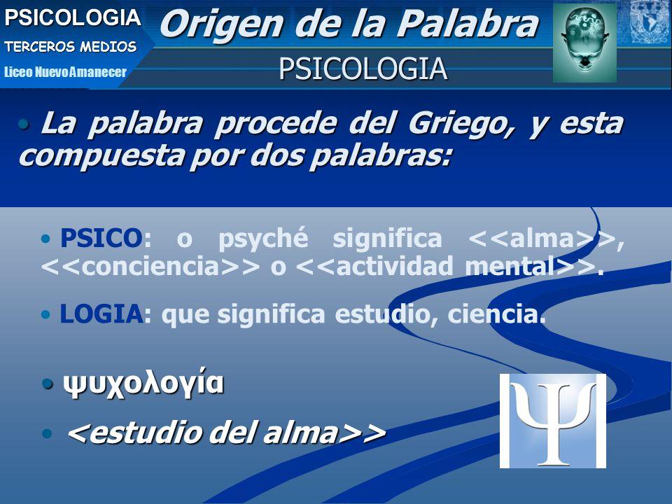 La palabra procede del Griego, y esta compuesta por dos palabras: La palabra procede del Griego, y esta compuesta por dos palabras: ψυχολογία ψυχολογία > > PSICOLOGIA Origen de la Palabra PSICO: o psyché significa <<alma>>, <<conciencia>> o <<actividad mental>>.