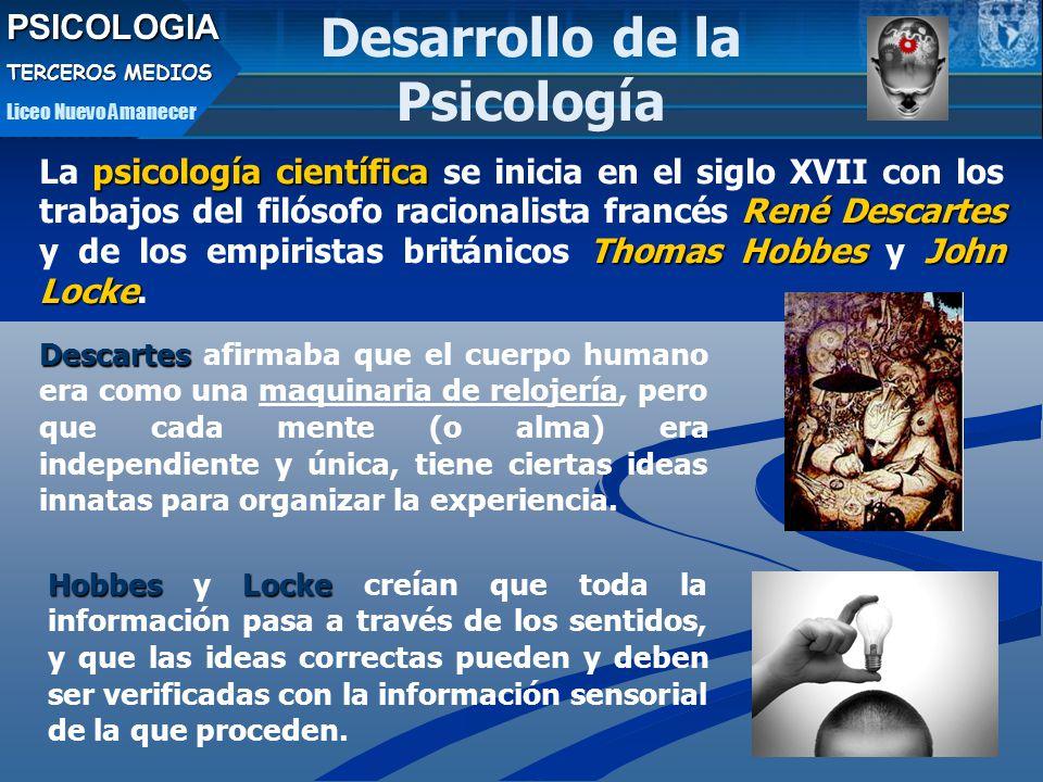 PSICOLOGIA TERCEROS MEDIOS Liceo Nuevo Amanecer psicología científica René Descartes Thomas HobbesJohn Locke La psicología científica se inicia en el siglo XVII con los trabajos del filósofo racionalista francés René Descartes y de los empiristas británicos Thomas Hobbes y John Locke.