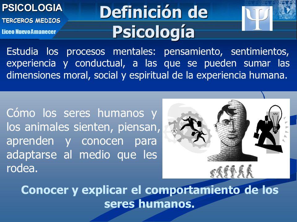 PSICOLOGIA TERCEROS MEDIOS Liceo Nuevo Amanecer Estudia los procesos mentales: pensamiento, sentimientos, experiencia y conductual, a las que se pueden sumar las dimensiones moral, social y espiritual de la experiencia humana.