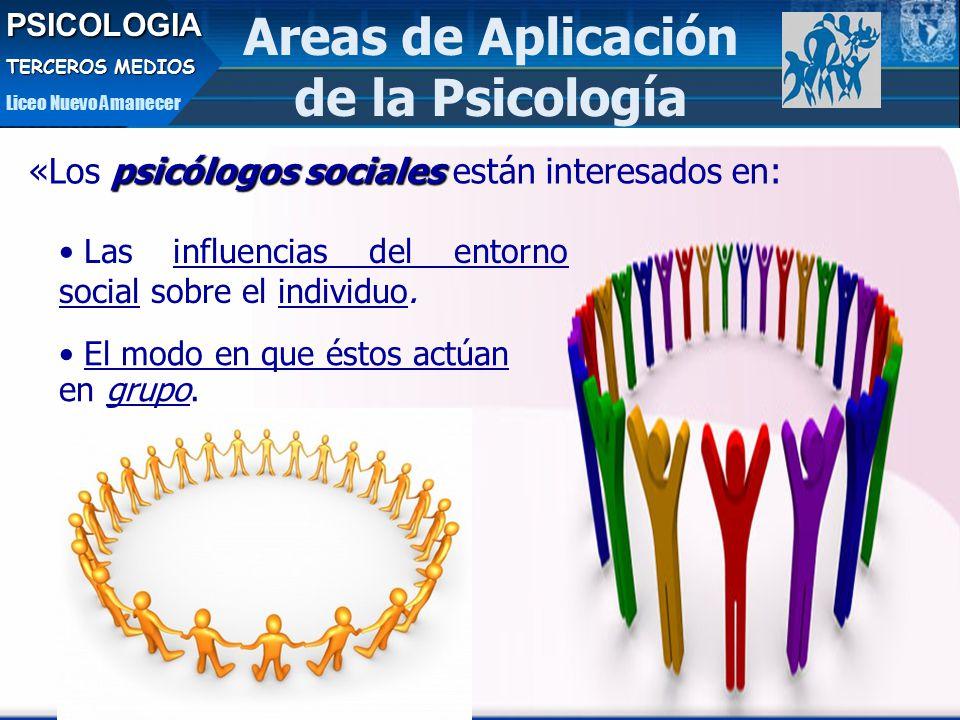 Areas de Aplicación de la PsicologíaPSICOLOGIA TERCEROS MEDIOS Liceo Nuevo Amanecer psicólogos sociales «Los psicólogos sociales están interesados en: Las influencias del entorno social sobre el individuo.
