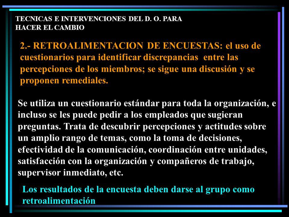 TECNICAS E INTERVENCIONES DEL D. O.