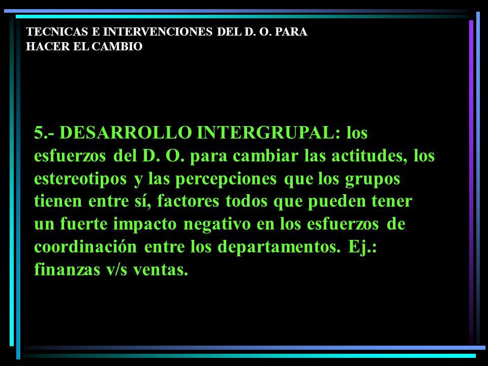 5.- DESARROLLO INTERGRUPAL: los esfuerzos del D. O.