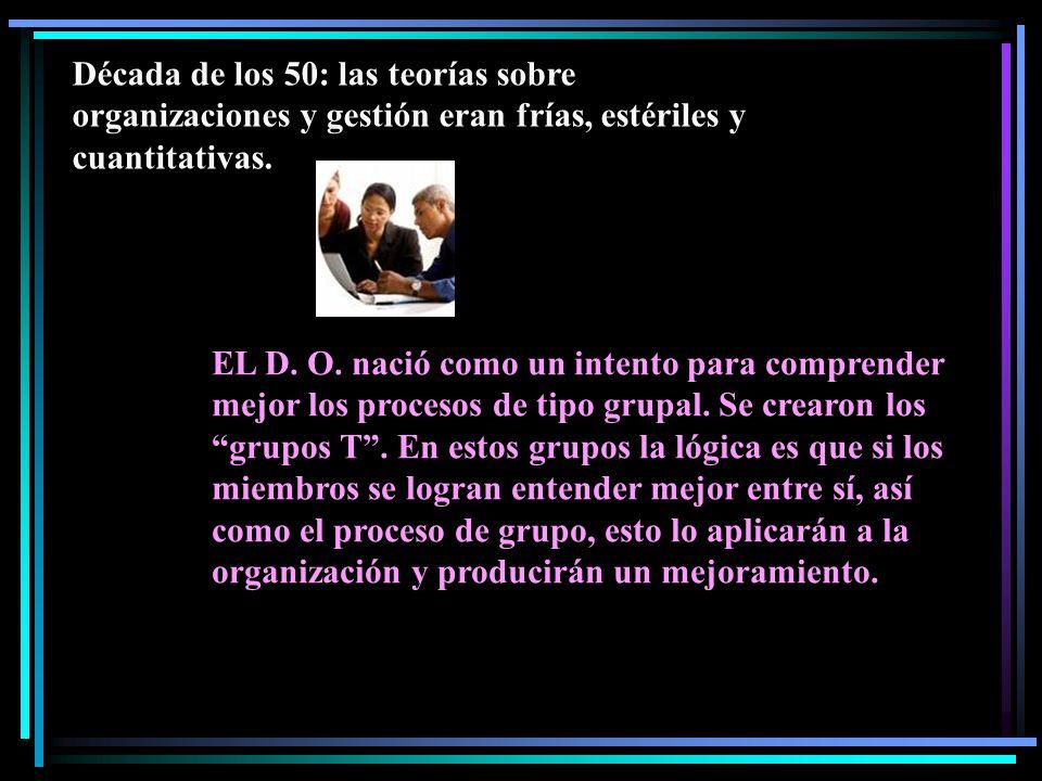 Década de los 50: las teorías sobre organizaciones y gestión eran frías, estériles y cuantitativas.