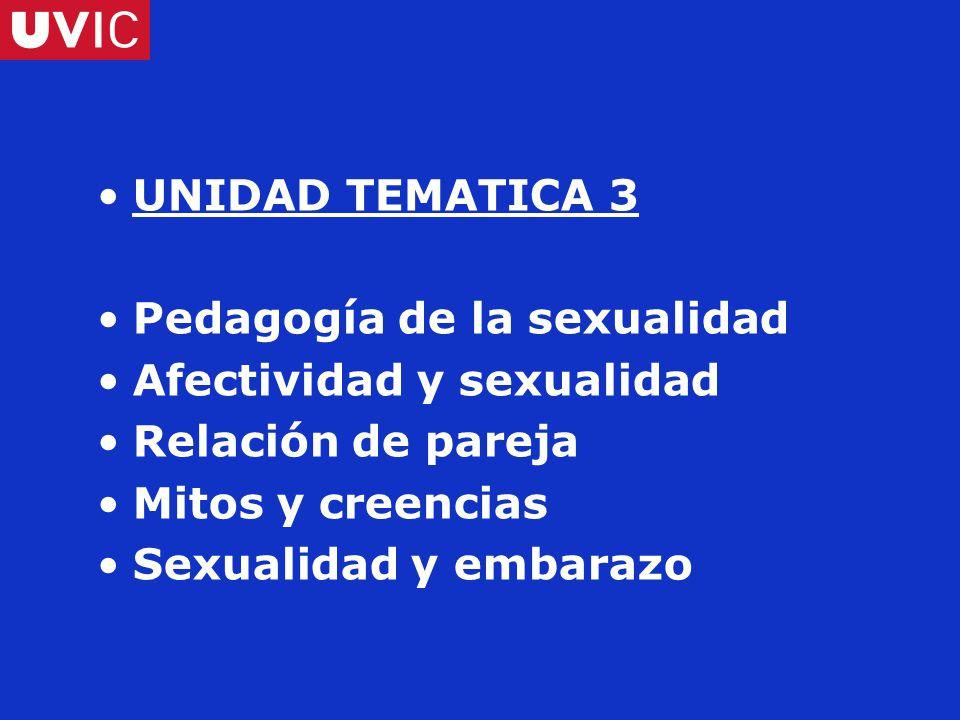 UNIDAD TEMATICA 3 Pedagogía de la sexualidad Afectividad y sexualidad Relación de pareja Mitos y creencias Sexualidad y embarazo