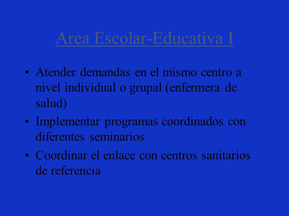 Area Escolar-Educativa I Atender demandas en el mismo centro a nivel individual o grupal (enfermera de salud) Implementar programas coordinados con diferentes seminarios Coordinar el enlace con centros sanitarios de referencia