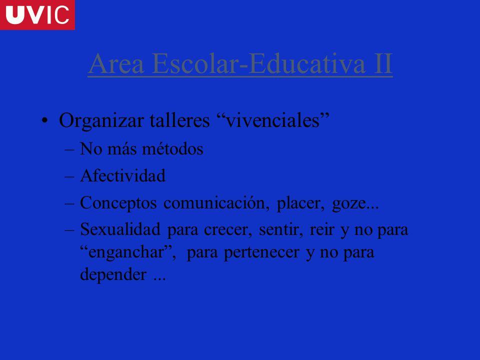 Area Escolar-Educativa II Organizar talleres vivenciales –No más métodos –Afectividad –Conceptos comunicación, placer, goze...