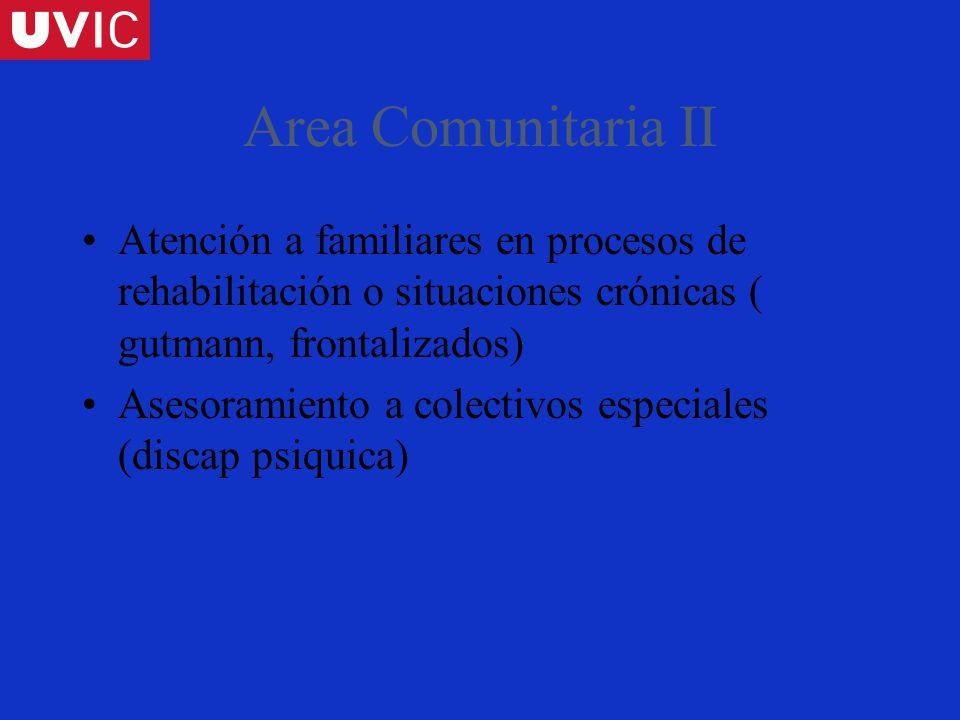 Area Comunitaria II Atención a familiares en procesos de rehabilitación o situaciones crónicas ( gutmann, frontalizados) Asesoramiento a colectivos especiales (discap psiquica)