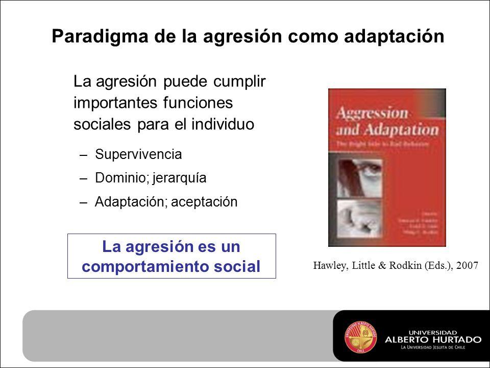 Paradigma de la agresión como adaptación La agresión puede cumplir importantes funciones sociales para el individuo –Supervivencia –Dominio; jerarquía –Adaptación; aceptación Hawley, Little & Rodkin (Eds.), 2007 La agresión es un comportamiento social