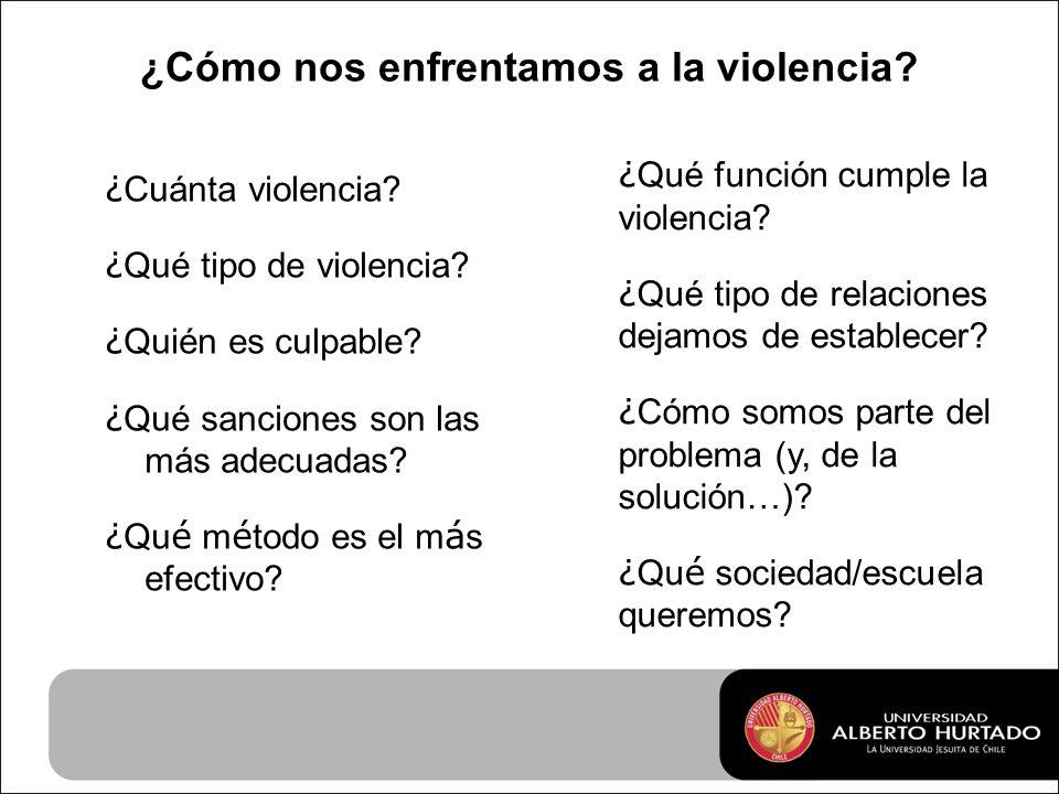 ¿Cómo nos enfrentamos a la violencia. ¿ Cuánta violencia.