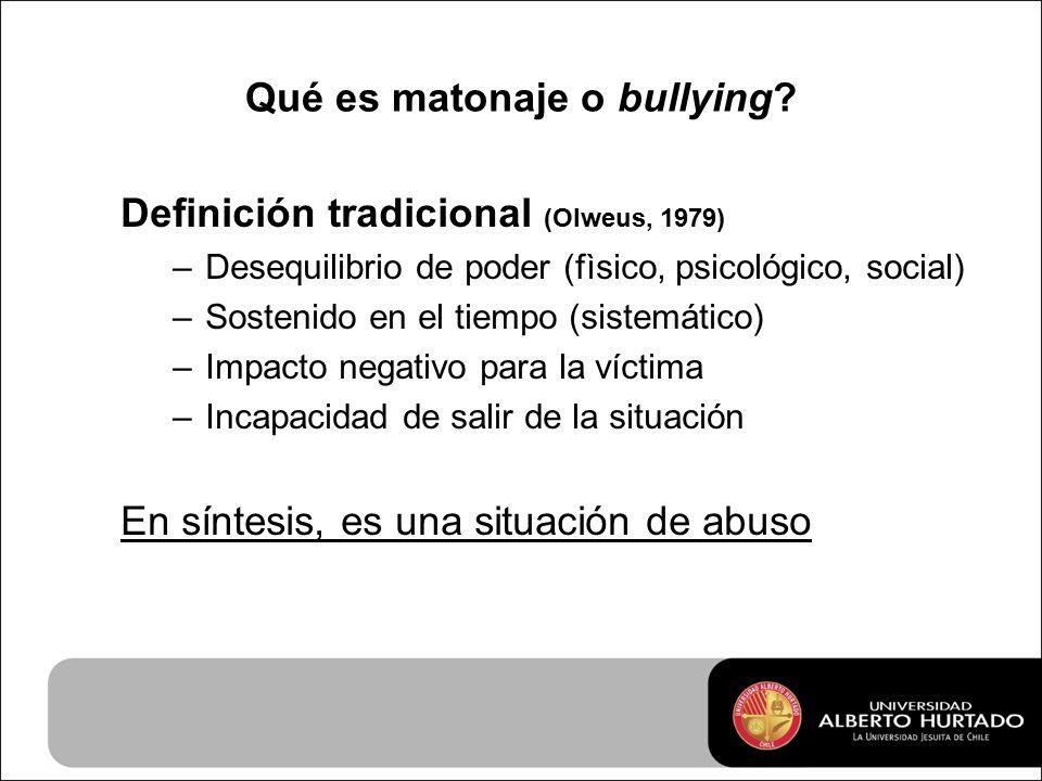 Qué es matonaje o bullying.
