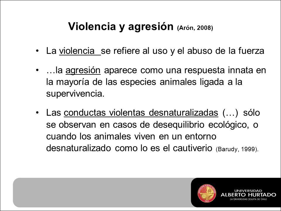 Violencia y agresión (Arón, 2008) La violencia se refiere al uso y el abuso de la fuerza …la agresión aparece como una respuesta innata en la mayoría de las especies animales ligada a la supervivencia.