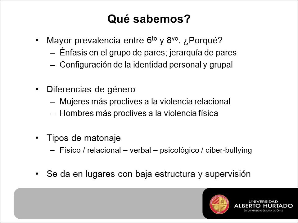 Qué sabemos. Mayor prevalencia entre 6 to y 8 vo.