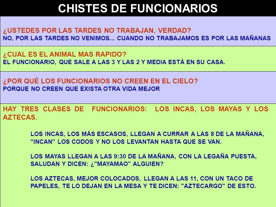 CHISTES DE FUNCIONARIOS ¿USTEDES POR LAS TARDES NO TRABAJAN, VERDAD.