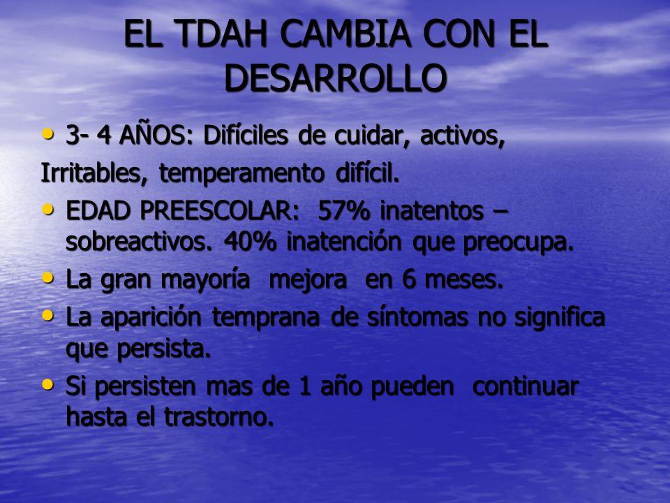 EL TDAH CAMBIA CON EL DESARROLLO 3- 4 AÑOS: Difíciles de cuidar, activos, 3- 4 AÑOS: Difíciles de cuidar, activos, Irritables, temperamento difícil.