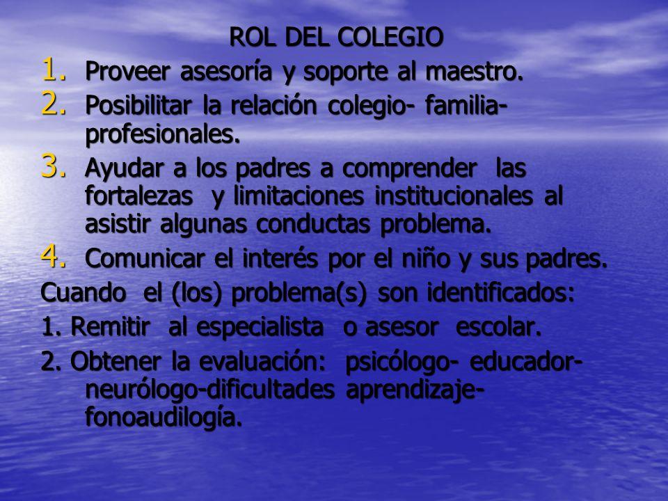 ROL DEL COLEGIO 1. Proveer asesoría y soporte al maestro.