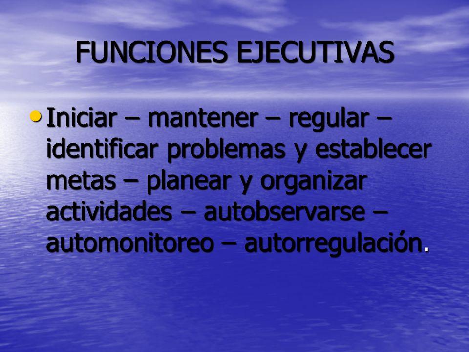 FUNCIONES EJECUTIVAS Iniciar – mantener – regular – identificar problemas y establecer metas – planear y organizar actividades – autobservarse – automonitoreo – autorregulación.
