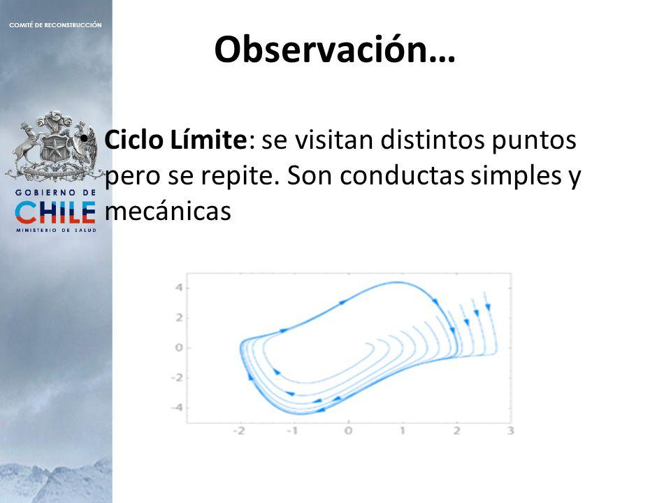 Observación… Ciclo Límite: se visitan distintos puntos pero se repite.
