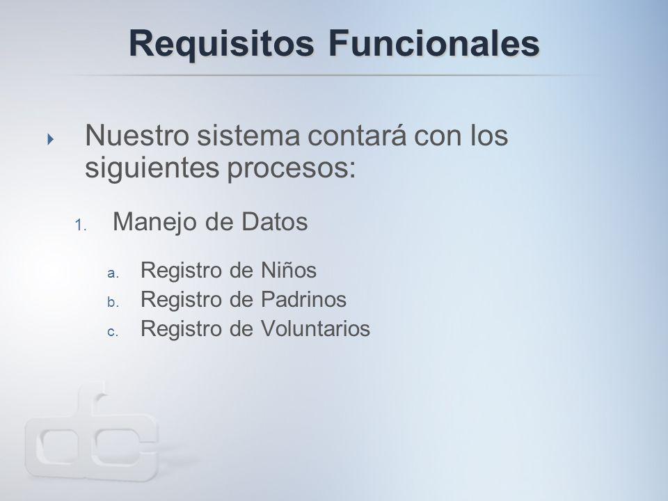 Requisitos Funcionales  Nuestro sistema contará con los siguientes procesos: 1.