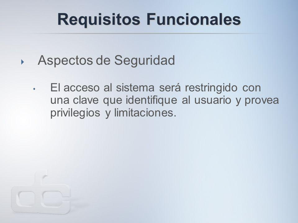 Requisitos Funcionales  Aspectos de Seguridad El acceso al sistema será restringido con una clave que identifique al usuario y provea privilegios y limitaciones.