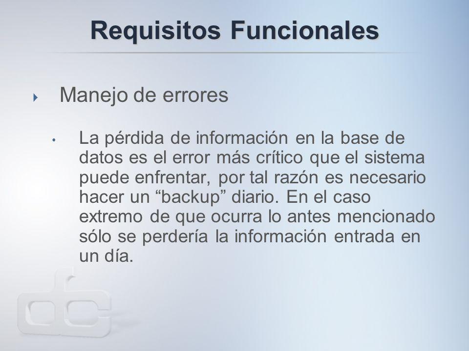 Requisitos Funcionales  Manejo de errores La pérdida de información en la base de datos es el error más crítico que el sistema puede enfrentar, por tal razón es necesario hacer un backup diario.