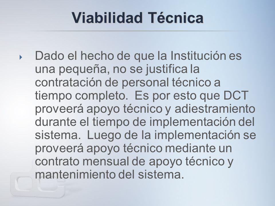 Viabilidad Técnica  Dado el hecho de que la Institución es una pequeña, no se justifica la contratación de personal técnico a tiempo completo.