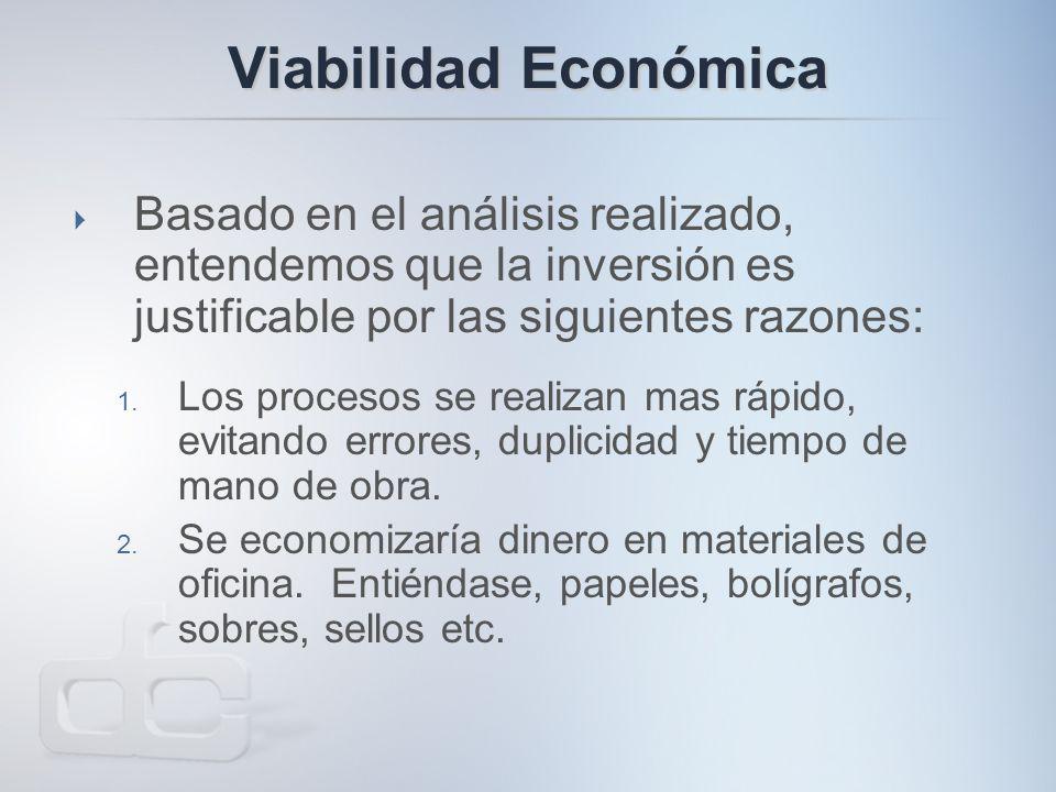 Viabilidad Económica  Basado en el análisis realizado, entendemos que la inversión es justificable por las siguientes razones: 1.