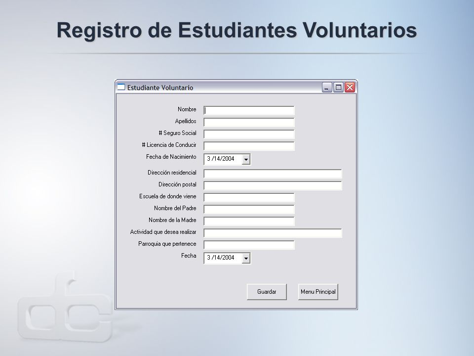 Registro de Estudiantes Voluntarios