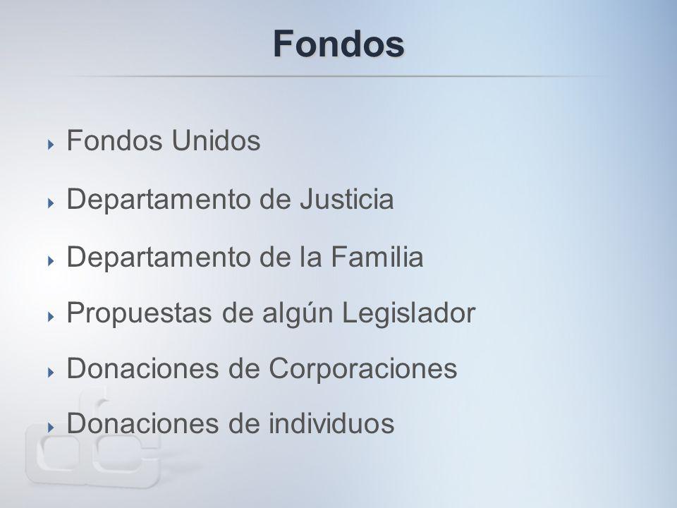 Fondos  Fondos Unidos  Departamento de Justicia  Departamento de la Familia  Propuestas de algún Legislador  Donaciones de Corporaciones  Donaciones de individuos