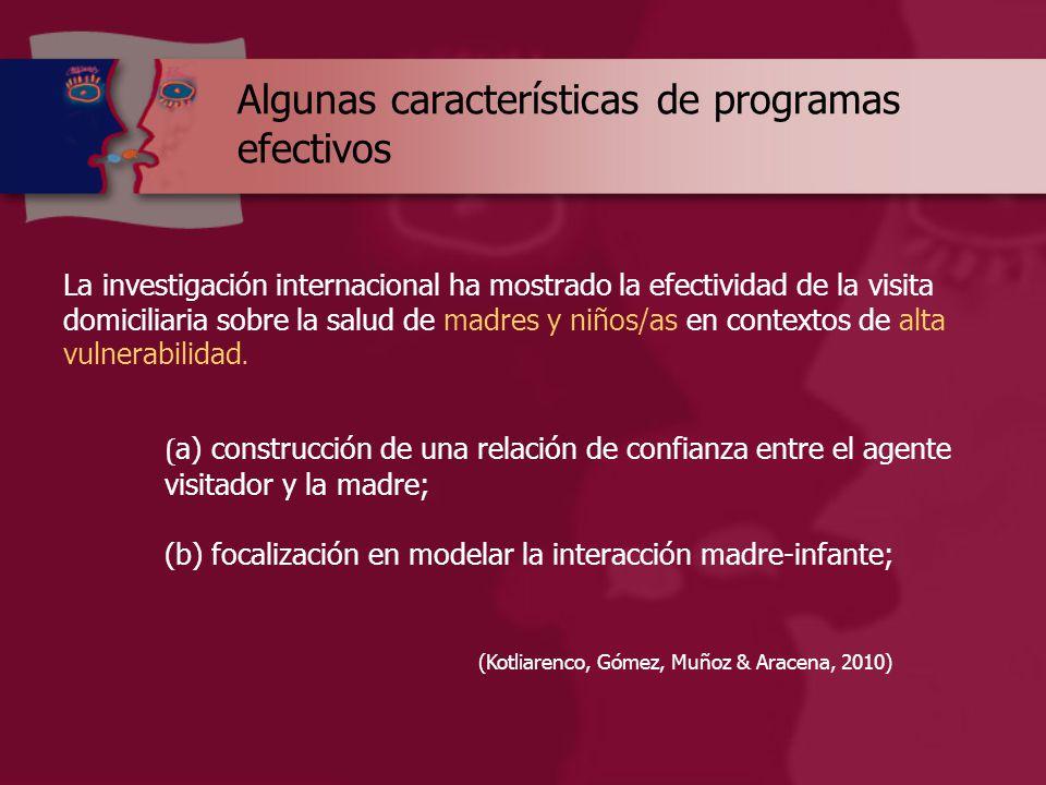 Algunas características de programas efectivos La investigación internacional ha mostrado la efectividad de la visita domiciliaria sobre la salud de madres y niños/as en contextos de alta vulnerabilidad.