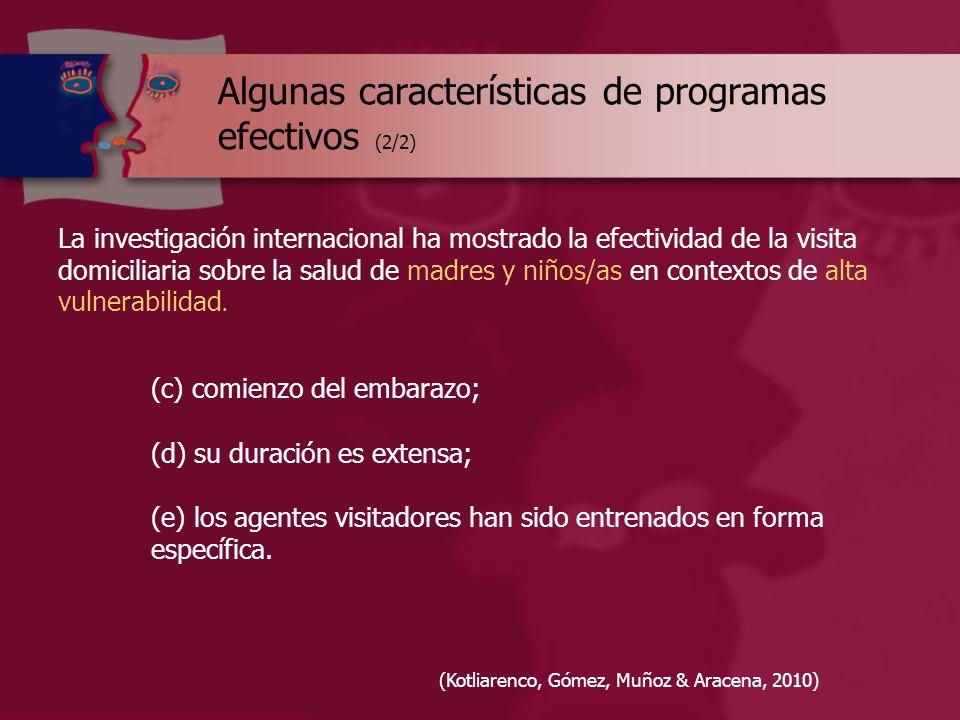 Algunas características de programas efectivos (2/2) La investigación internacional ha mostrado la efectividad de la visita domiciliaria sobre la salud de madres y niños/as en contextos de alta vulnerabilidad.