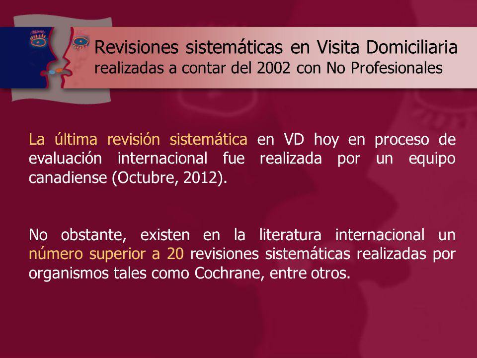 Revisiones sistemáticas en Visita Domiciliaria realizadas a contar del 2002 con No Profesionales La última revisión sistemática en VD hoy en proceso de evaluación internacional fue realizada por un equipo canadiense (Octubre, 2012).