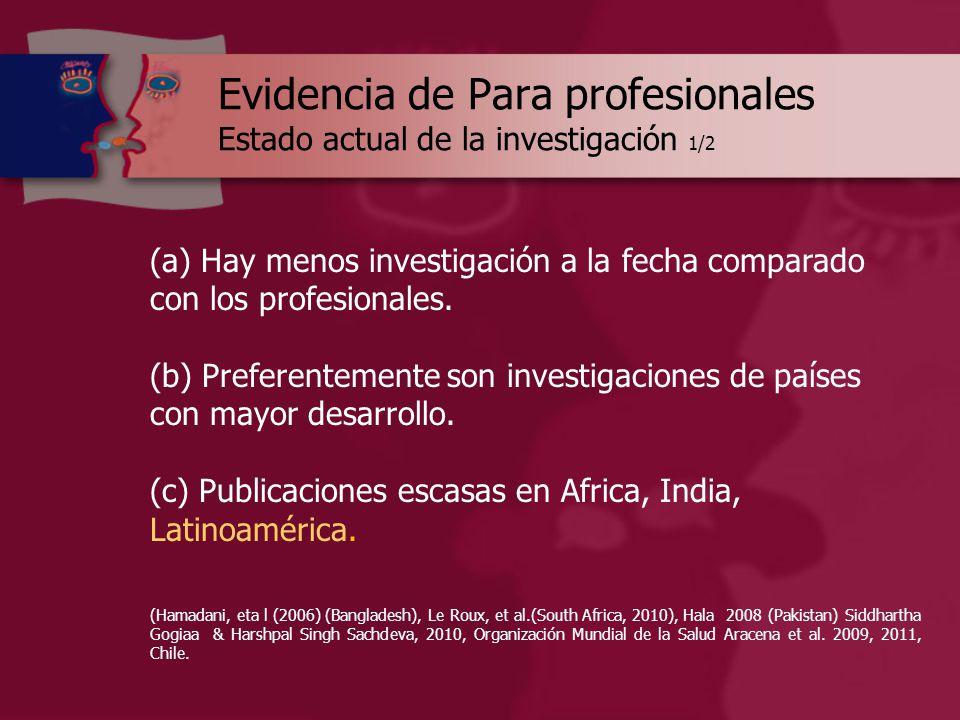 Evidencia de Para profesionales Estado actual de la investigación 1/2 (a) Hay menos investigación a la fecha comparado con los profesionales.