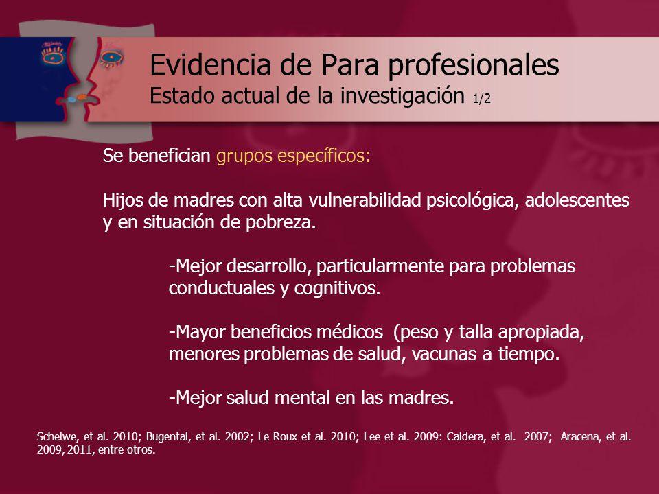 Evidencia de Para profesionales Estado actual de la investigación 1/2 Se benefician grupos específicos: Hijos de madres con alta vulnerabilidad psicológica, adolescentes y en situación de pobreza.