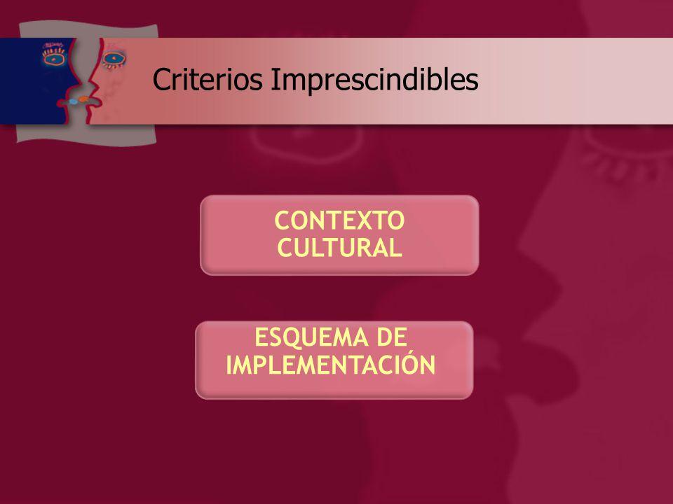 CONTEXTO CULTURAL ESQUEMA DE IMPLEMENTACIÓN Criterios Imprescindibles