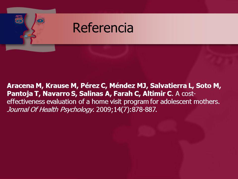 Referencia Aracena M, Krause M, Pérez C, Méndez MJ, Salvatierra L, Soto M, Pantoja T, Navarro S, Salinas A, Farah C, Altimir C.