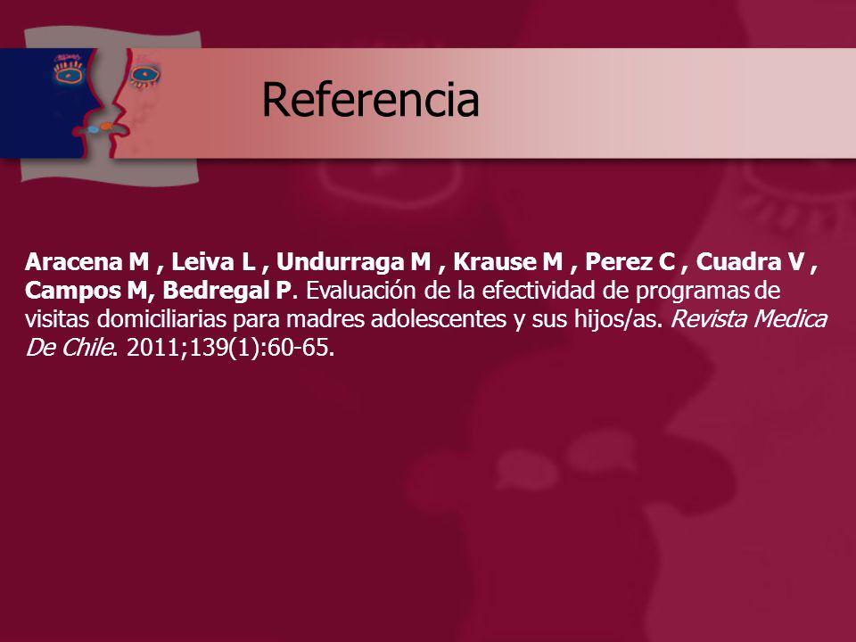 Referencia Aracena M, Leiva L, Undurraga M, Krause M, Perez C, Cuadra V, Campos M, Bedregal P.