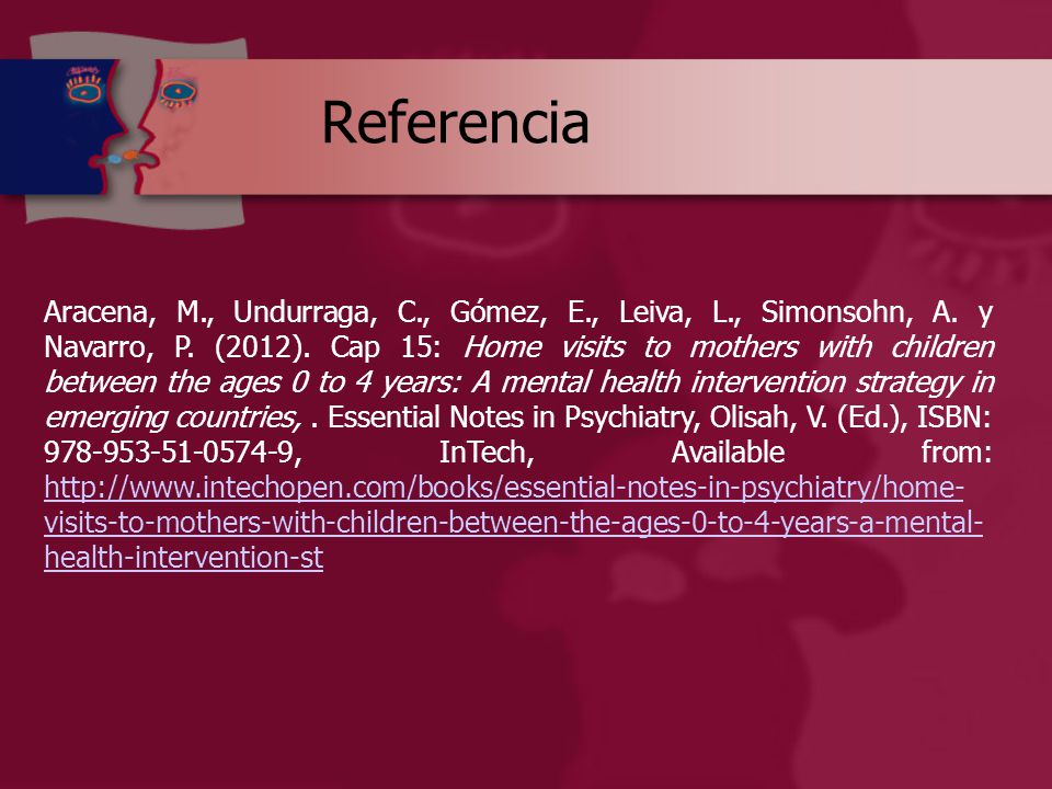 Referencia Aracena, M., Undurraga, C., Gómez, E., Leiva, L., Simonsohn, A.