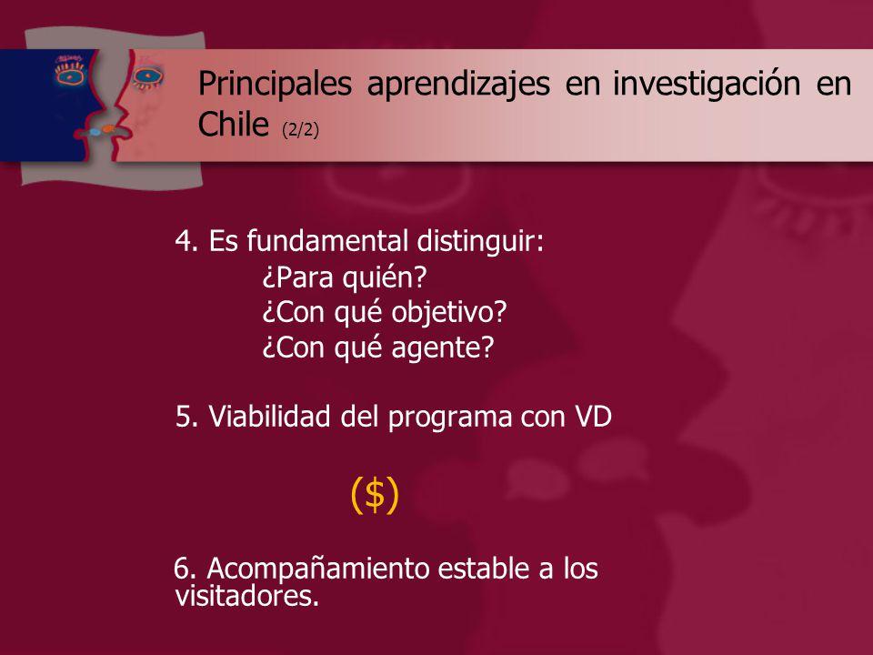 Principales aprendizajes en investigación en Chile (2/2) 4.