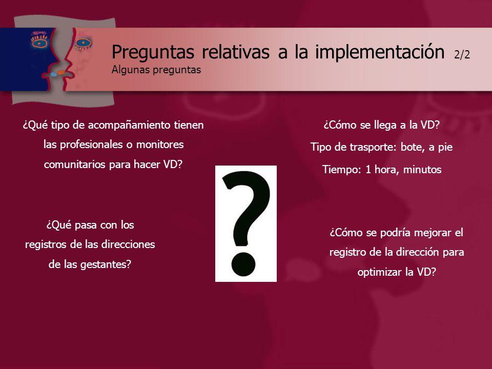 Preguntas relativas a la implementación 2/2 Algunas preguntas ¿Qué tipo de acompañamiento tienen las profesionales o monitores comunitarios para hacer VD.