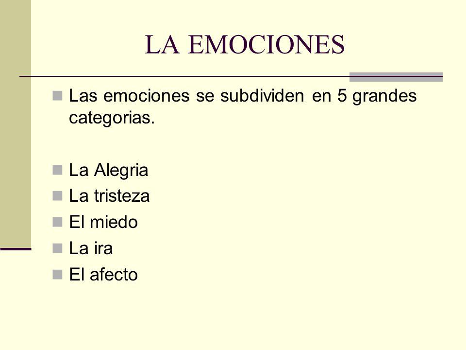 LA EMOCIONES Las emociones se subdividen en 5 grandes categorias.