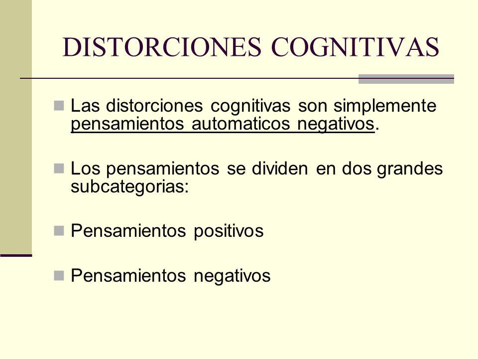 DISTORCIONES COGNITIVAS Las distorciones cognitivas son simplemente pensamientos automaticos negativos.