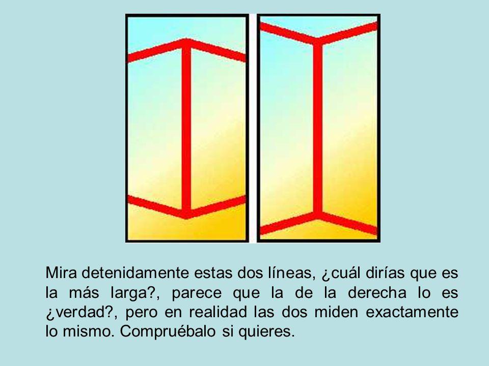 Mira detenidamente estas dos líneas, ¿cuál dirías que es la más larga?, parece que la de la derecha lo es ¿verdad?, pero en realidad las dos miden exa