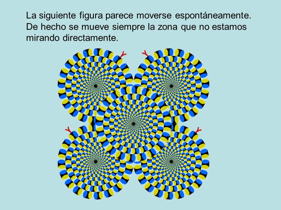 La siguiente figura parece moverse espontáneamente. De hecho se mueve siempre la zona que no estamos mirando directamente.