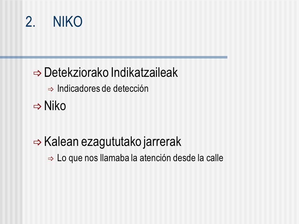  Detekziorako Indikatzaileak  Indicadores de detección  Niko  Kalean ezagututako jarrerak  Lo que nos llamaba la atención desde la calle 2.NIKO