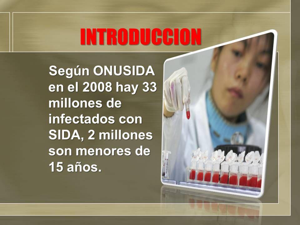 INTRODUCCION Según ONUSIDA en el 2008 hay 33 millones de infectados con SIDA, 2 millones son menores de 15 años.