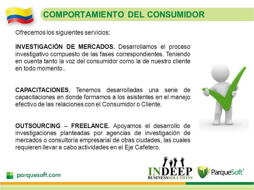 COMPORTAMIENTO DEL CONSUMIDOR Ofrecemos los siguientes servicios: INVESTIGACIÓN DE MERCADOS.