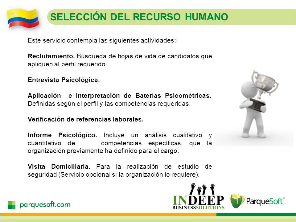 SELECCIÓN DEL RECURSO HUMANO Este servicio contempla las siguientes actividades: Reclutamiento.