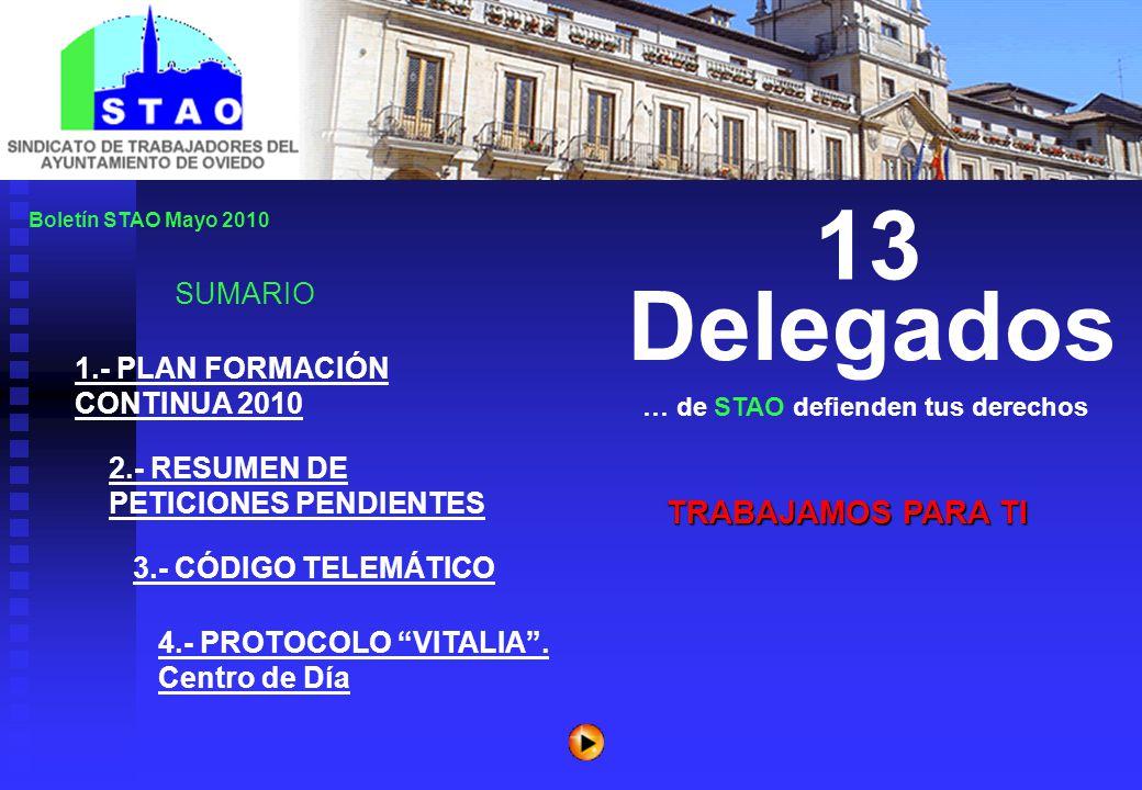 Boletín STAO Mayo 2010 SUMARIO TRABAJAMOS PARA TI … de STAO defienden tus derechos 13 Delegados 1.- PLAN FORMACIÓN CONTINUA 2010 2.- RESUMEN DE PETICIONES PENDIENTES 3.- CÓDIGO TELEMÁTICO 4.- PROTOCOLO VITALIA .
