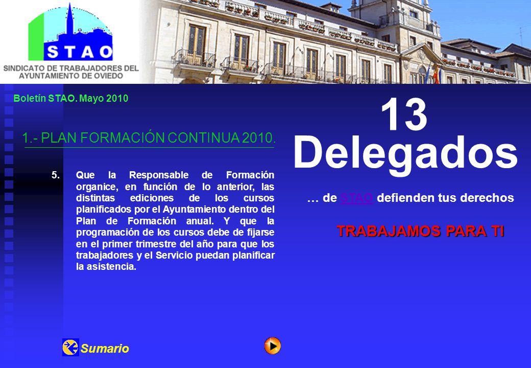 Boletín STAO. Mayo 2010 1.- PLAN FORMACIÓN CONTINUA 2010.